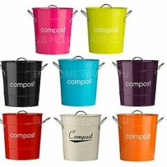 Compost Bin For Kitchen Modern Handles Metal Bucket Caddy Galvanized Waste Recycle Soil Image Is Loading