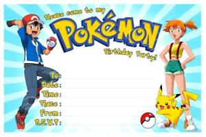 details about 1 x pokemon childrens blank fill in diy birthday invitations free magnets