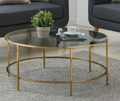 round coffee table gold with smoked glass centre table living room furniture 5056034031737 ebay