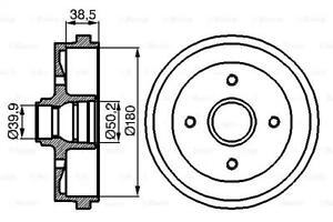 Brake Drum 180mm 74,5mm Fits AUDI 80 SEAT Toledo VW Polo