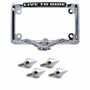 CHROME SPIKE & 3D EAGLE MOTORCYCLE LICENSE PLATE FRAME