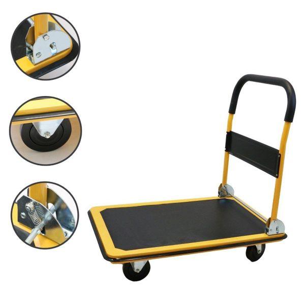 Platform Cart Folding Dolly Moving Push Hand Truck Warehouse - 330lbs Yellow