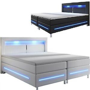 details sur lit d hotel boxspring design en cuir matelas double 140 ou 180x200 bed led l k