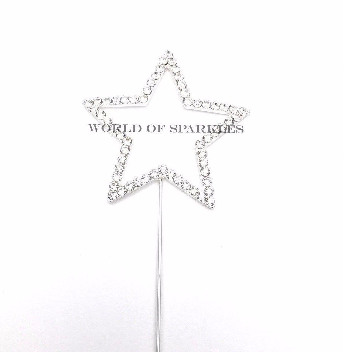 Sparkly Silver Diamante Diamond Rhinestone Star Shape Cake