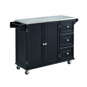 stainless kitchen cart facelift home styles liberty wtih steel top in black