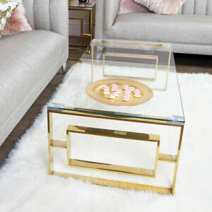 details about plaza gold contemporary clear glass lounge living room coffee table