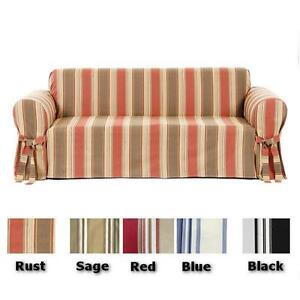 cotton recliner chair covers reupholstery cost all 100 stripe sofa or loveseat slipcover cover image is loading
