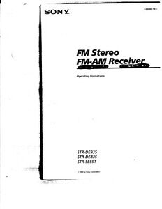 Sony STR-DE935 STR-DE835 STR-SE591 AV Receiver Owners