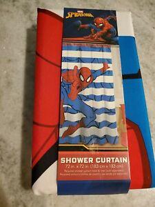 details about spiderman marvel fabric shower curtain nwt bathroom bath striped christmas