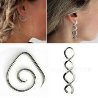 1-4PC Steel Wire Curl Metal Spiral Taper Earring Curved ...