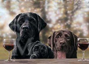 Black Labrador Dog Puppy Animal Painting Wine Lover