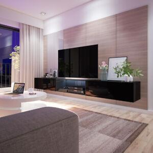 details sur larka meuble tv suspendu avec led 300 cm blanc noir moderne