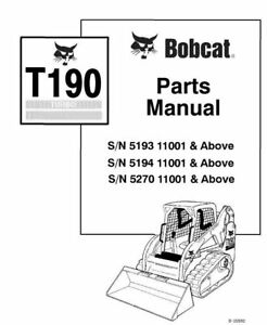 Bobcat T190 Track Loader Parts Manual 519311001-519411001