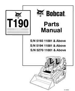 Bobcat T190 Track Loader Parts Manual 519311001-519411001