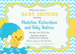 Details About Duck Ducky Baby Shower Invitation