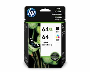 HP 64 Tri-Color/64XL Black Ink Cartridges. 2 Pack 3YP23AN#140 | eBay