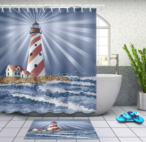 details about candy cane lighthouse shower curtain bathroom mat waterproof fabric 12 hooks