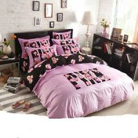 Full Size Fleece Duvet Cover Bedding Set 4 Pieces Pink ...