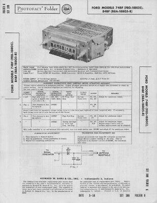 1958 FORD 74BF 84BF RADIO SERVICE MANUAL PHOTOFACT