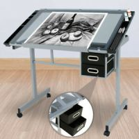 Adjustable Rolling Drawing Desk Drafting Table Tempered ...
