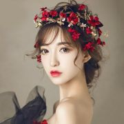 red flower headband wedding bridal