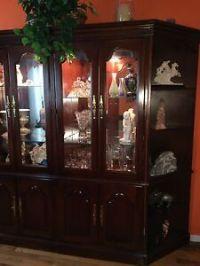 DISPLAY CABINET (CHERRY-WOOD W/GLASS, MIRROR BACK W ...