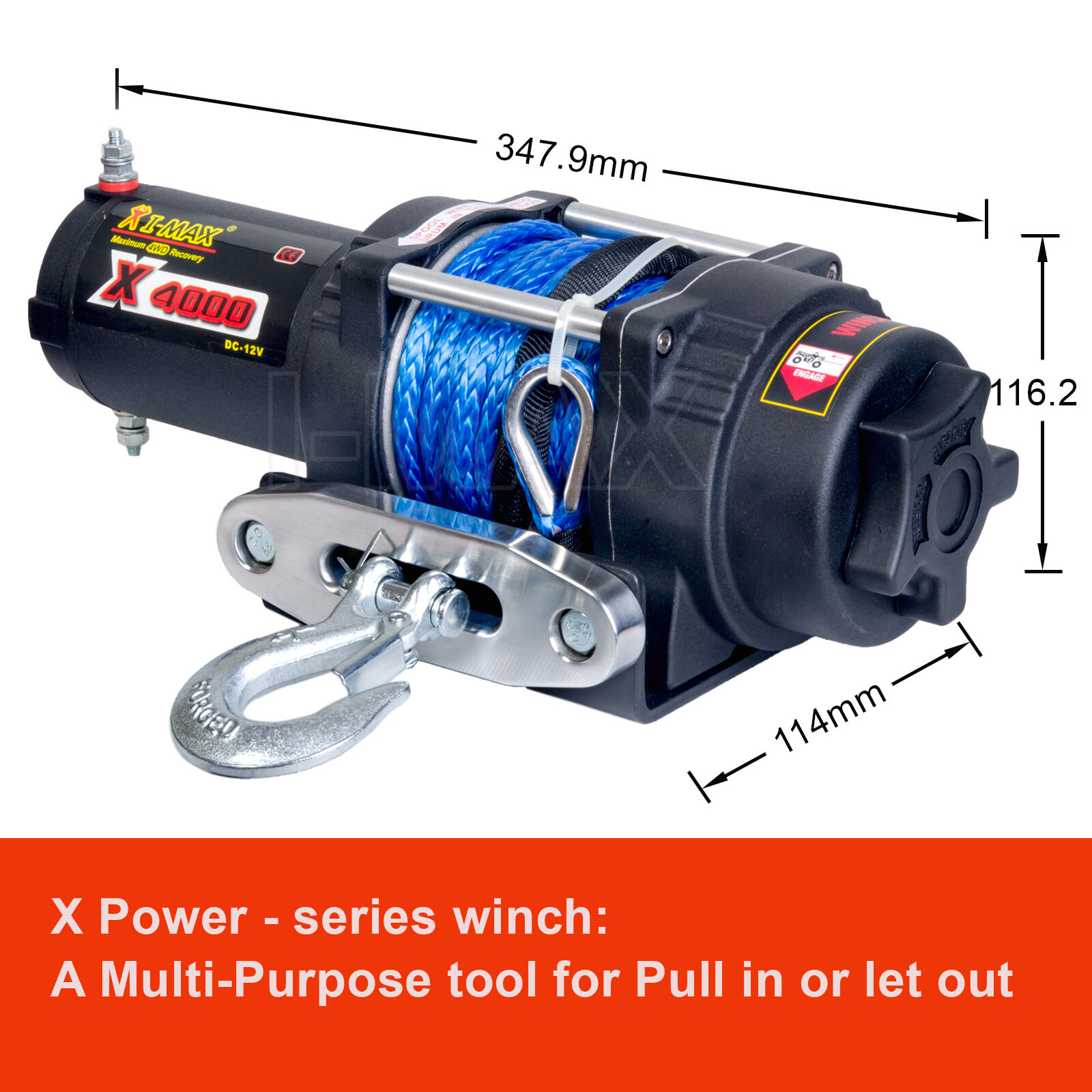 hight resolution of i max wireless 4000lbs 1814kg 12v electric winch rope boat atv 4wd imax winch wiring diagram 12v