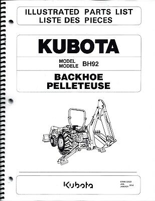 Kubota BH92 Backhoe Illustrated Parts Manual 97898-32022