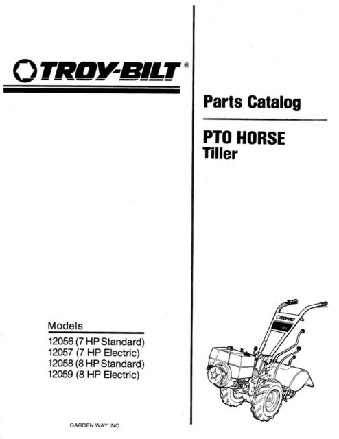 Troy Bilt PTO Horse Tiller 1992 1993 Parts Manual 7 & 8 HP