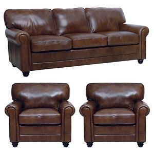 leather italia sofa furniture 70 inch new luke italian brown down 3 piece set 1 and 2 image is loading
