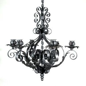Vintage French Wrought Iron Chandelier Six Lights Mid-20th