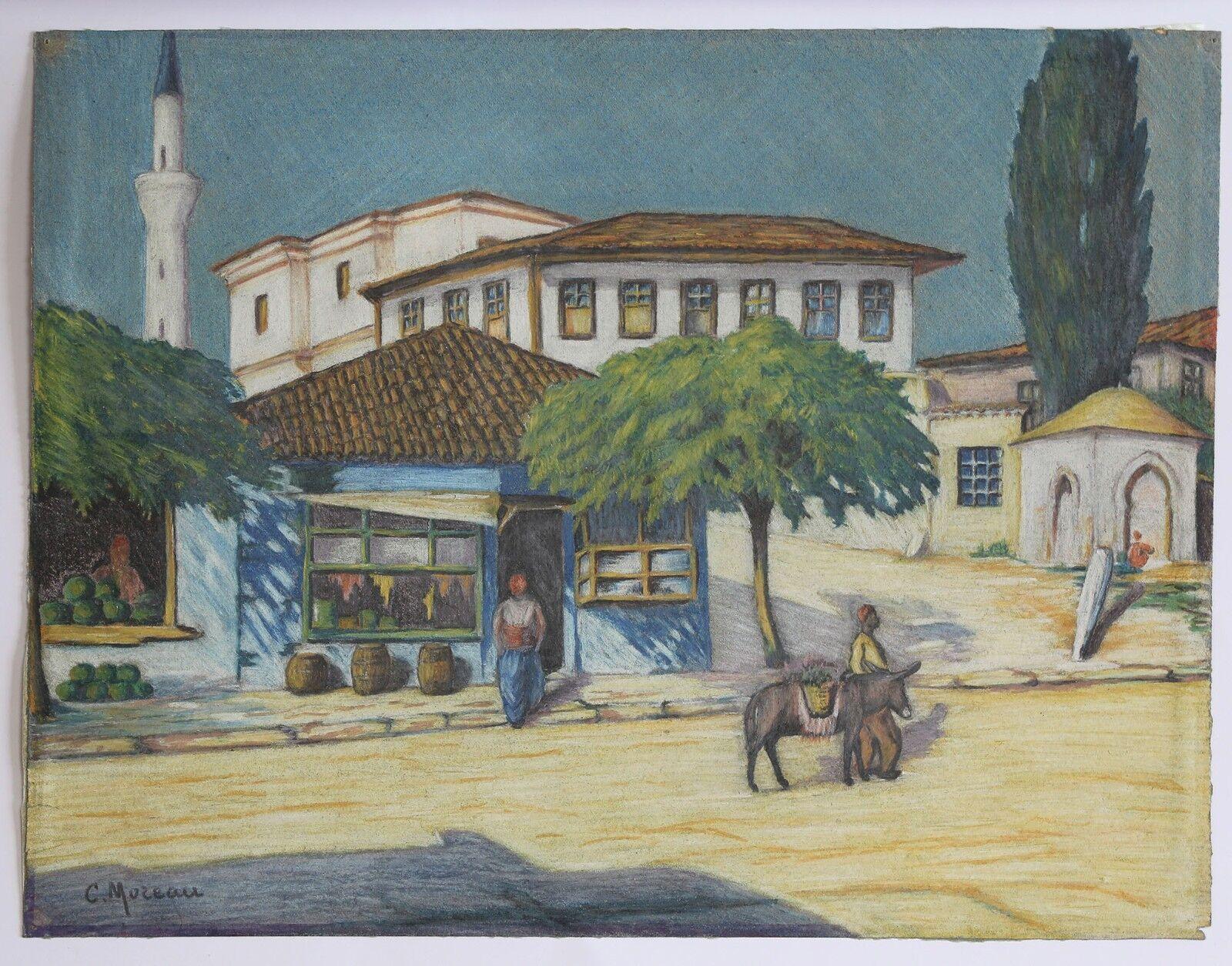 Moreau Landscape Orientalist near a Mosque Morocco Algeria Africa