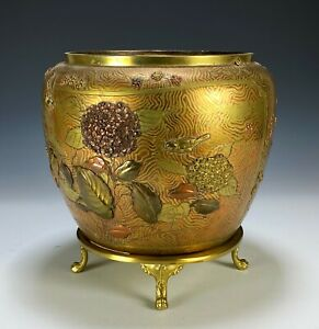 Unusual Antique Japanese Bronze Mixed Metal Planter Bowl with Birds and Flowers