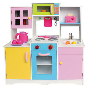 play kitchens for boys metal kitchen cabinets ikea large girls kids wooden role pretend toy image is loading