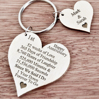 1st First Wedding Anniversary Gift For Husband Wife Personalised Keyring Her K43 Ebay