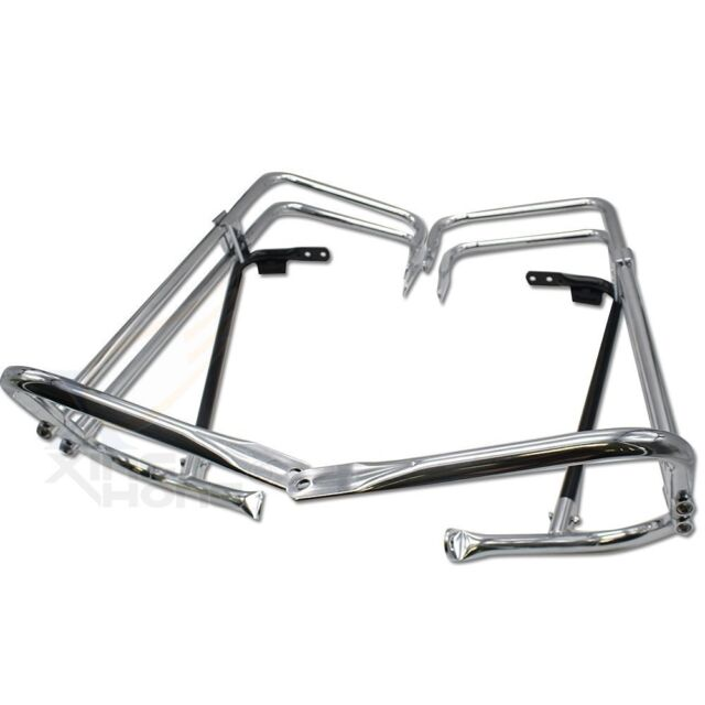Twin Rail Chrome Saddlebag Guard Kit For 1997-2008 Harley