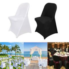 Black Chair Covers Ebay Round Table 6 Chairs Garden 1 10x Elastic Polyester Spandex Banquet Wedding Slipcovers Image Is Loading