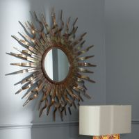 Sun Wall Mirror Round Gold Modern Sunburst Accent ...