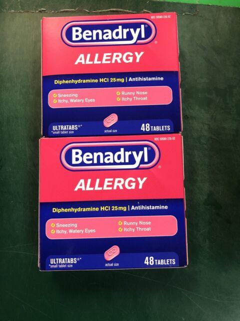 2 BENADRYL ALLERGY MEDICINE & COLD RELIEF 24 Tablets EX ...