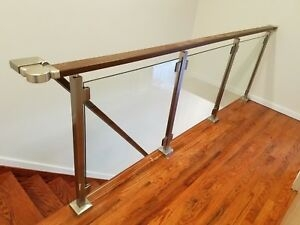 Modern Square Stairs Balcony Railing Kit Glass Not Included   Modern Glass Stair Railing   Dark Wood   Banister   Wall Mounted   Cost   Basement