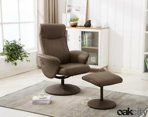 swivel reclining chairs for living room hide tv in florence recliner chair stool faux leather multiple image is loading amp