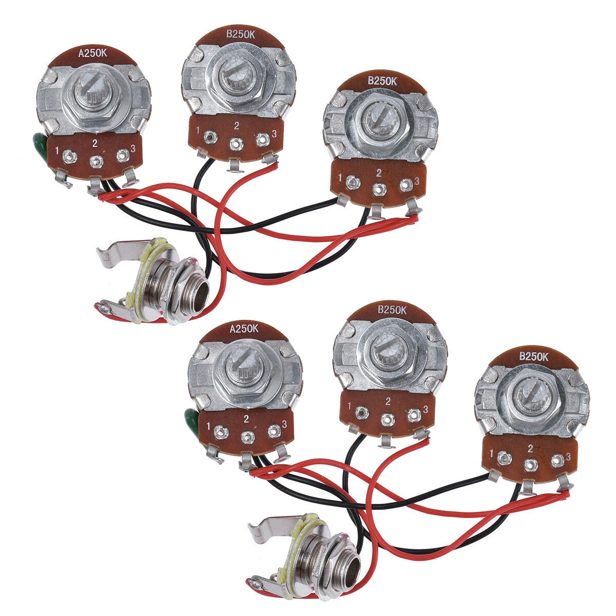 hight resolution of wiring harness prewired kit 250k pots 2v1t for jazz bass guitar parts set of 2