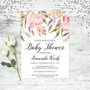 Details About Baby Shower Invitation Personalised Party Supplies Fl Invite Pink Boho