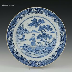 Nice very large Chinese B&W porcelain charger, figure in landscape, 18th century