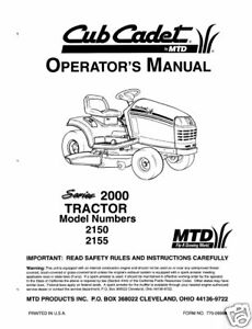 Cub Cadet Owners Manual Model No. 2150-2155