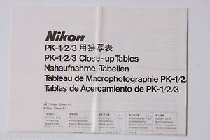 Nikon Extension PK-1/2/3 Close-Up Tables Chart 77.5.CO