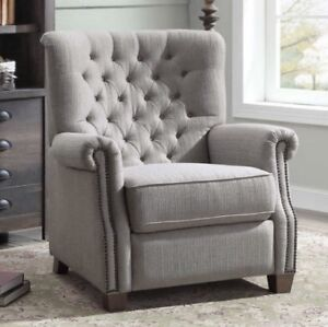 push back chair lounge material gray tufted recliner armchair recliners nailhead arm image is loading