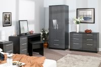 BEDROOM FURNITURE HIGH GLOSS GREY ON BLACK WARDROBE CHEST
