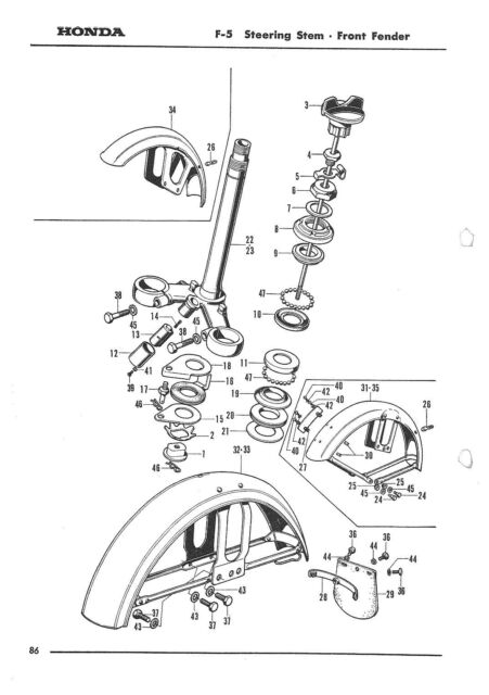 HONDA Parts Manual CB350 CL350 CB250 CL250 K0 K1 1968 1969