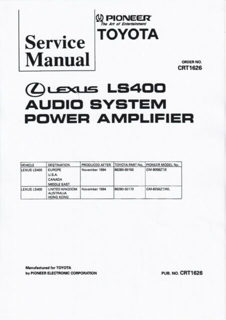 Service Manual for Pioneer GM-8256, GM-8056, Audio Lexus